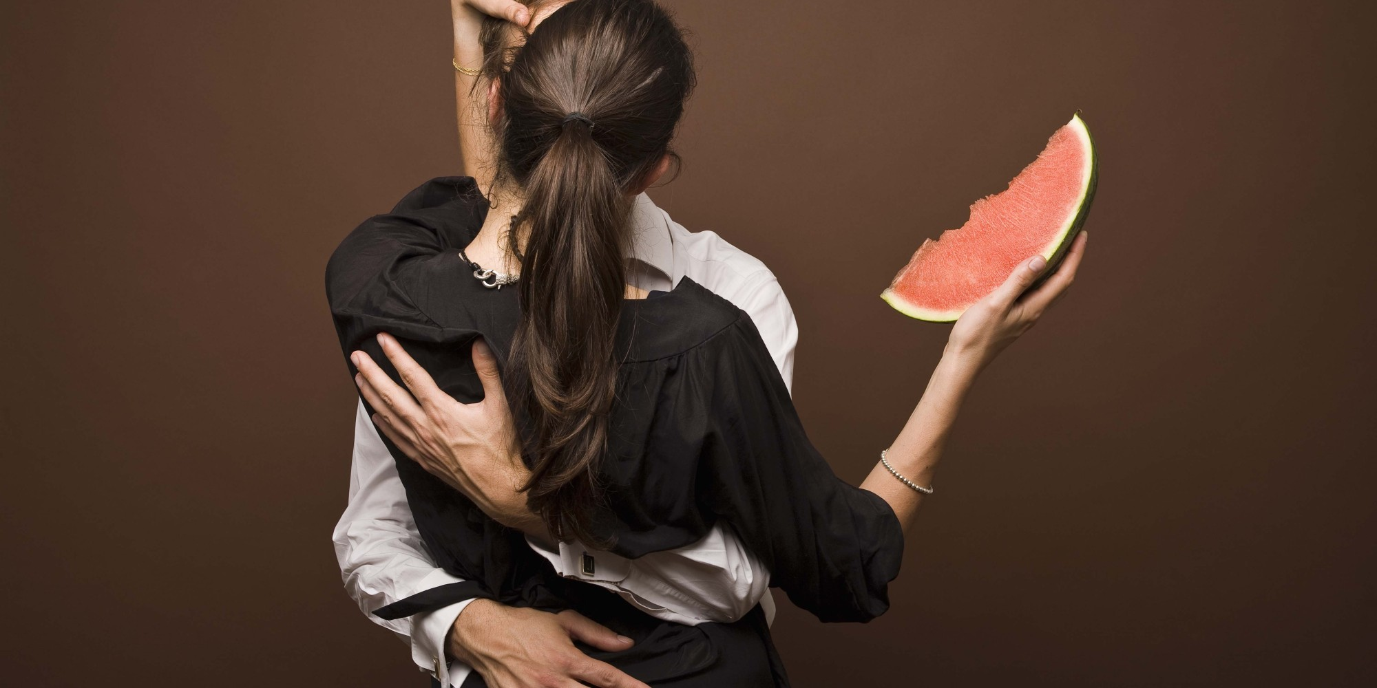 Couple with a watermelon